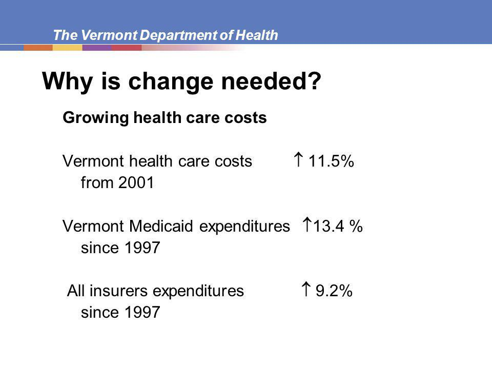 The Vermont Department of Health Why is change needed.