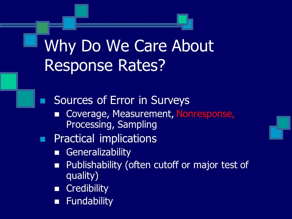 Improving Response Rates Multiple contacts Multiple modes of contact Interviewer training Advance Notification/Endorsement Incentives Reduce respondent burden Increase relevance to respondent Time and money to get quality
