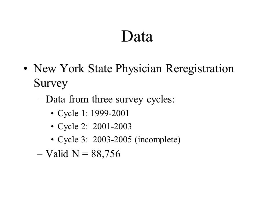 Data New York State Physician Reregistration Survey –Data from three survey cycles: Cycle 1: 1999-2001 Cycle 2: 2001-2003 Cycle 3: 2003-2005 (incomple