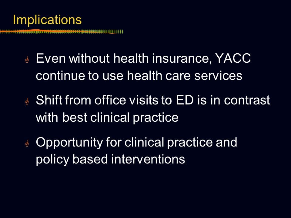 Implications Even without health insurance, YACC continue to use health care services Shift from office visits to ED is in contrast with best clinical practice Opportunity for clinical practice and policy based interventions