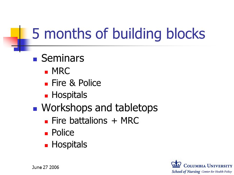 5 months of building blocks Seminars MRC Fire & Police Hospitals Workshops and tabletops Fire battalions + MRC Police Hospitals