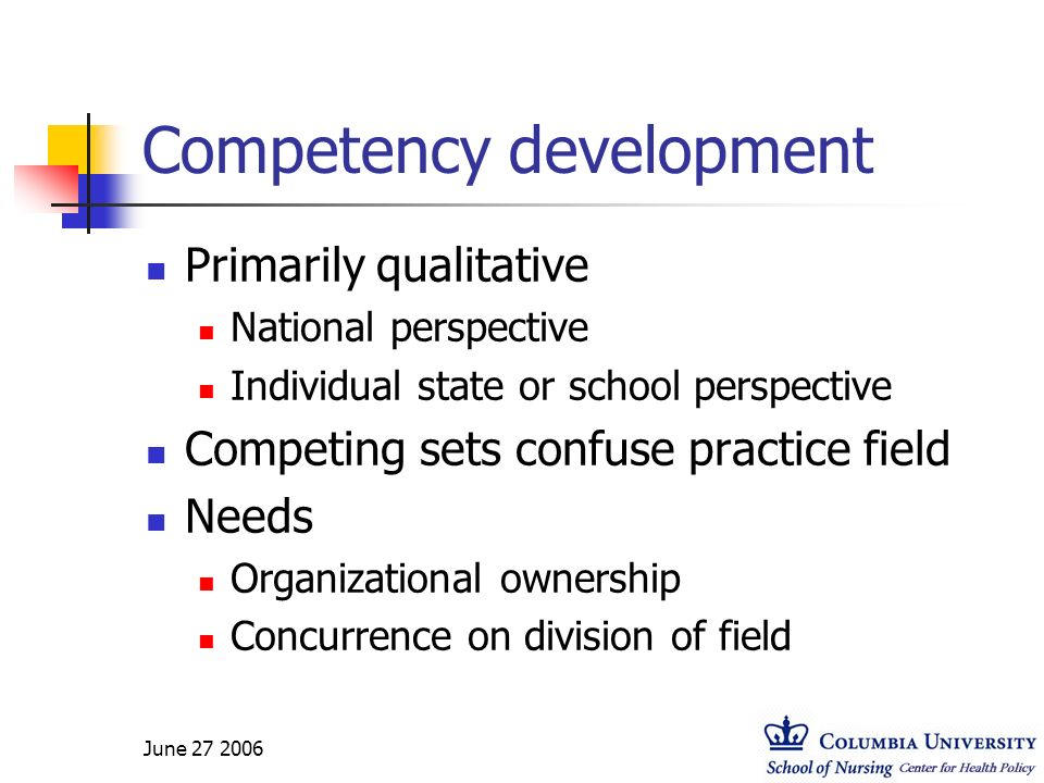 June 27 2006 Competency development Primarily qualitative National perspective Individual state or school perspective Competing sets confuse practice