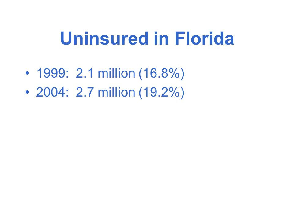 Uninsured in Florida 1999: 2.1 million (16.8%) 2004: 2.7 million (19.2%)