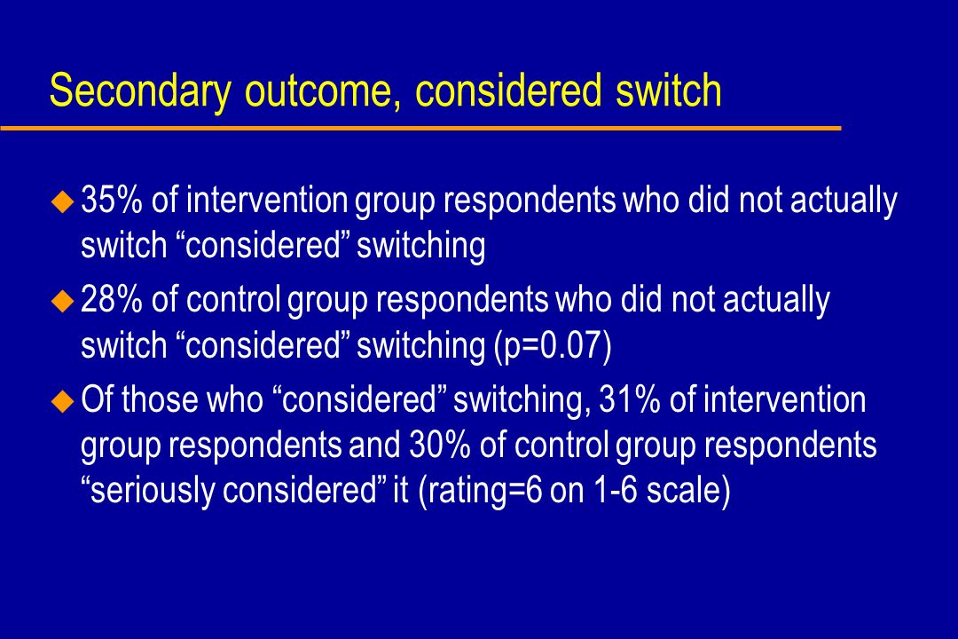 Secondary outcome, considered switch u 35% of intervention group respondents who did not actually switch considered switching u 28% of control group r