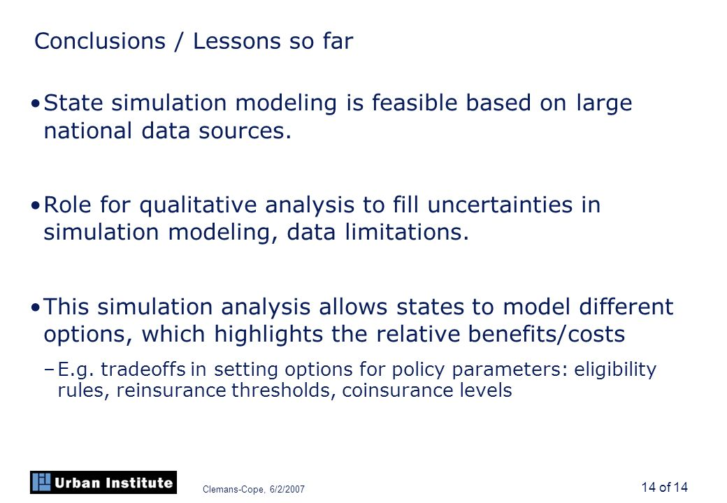 Clemans-Cope, 6/2/2007 14 of 14 Conclusions / Lessons so far State simulation modeling is feasible based on large national data sources.