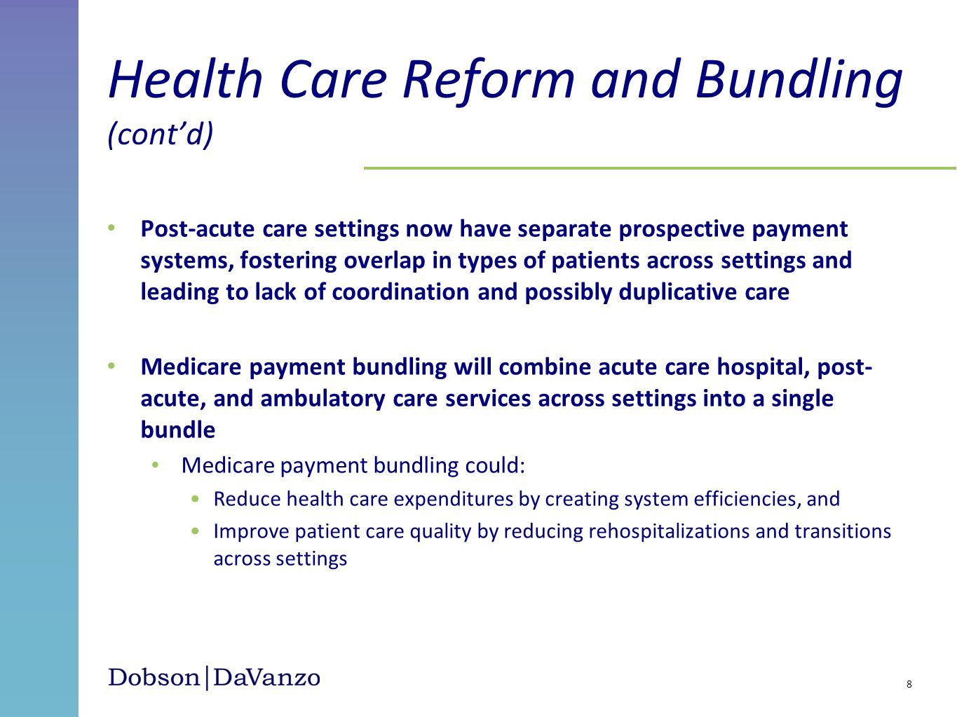 Post-acute care settings now have separate prospective payment systems, fostering overlap in types of patients across settings and leading to lack of