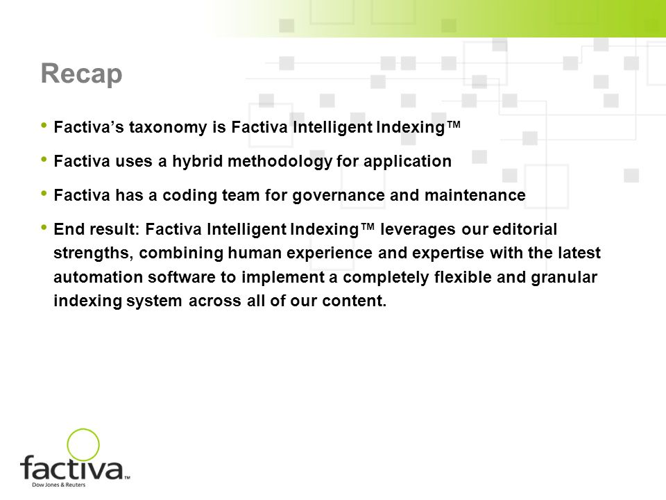 Recap Factivas taxonomy is Factiva Intelligent Indexing Factiva uses a hybrid methodology for application Factiva has a coding team for governance and