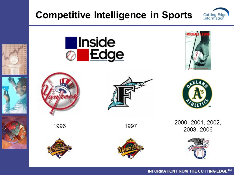 INFORMATION FROM THE CUTTING EDGE TM Competitive Intelligence in Sports 2000, 2001, 2002, 2003, 2006 1996 1997