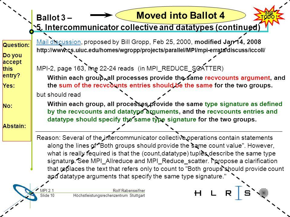 Höchstleistungsrechenzentrum Stuttgart Rolf RabenseifnerMPI 2.1 Slide 10 Ballot 3 – 5.