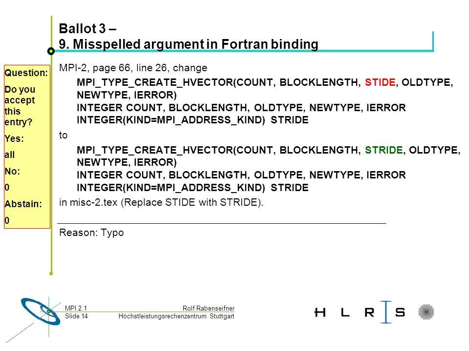 Höchstleistungsrechenzentrum Stuttgart Rolf RabenseifnerMPI 2.1 Slide 14 Ballot 3 – 9.