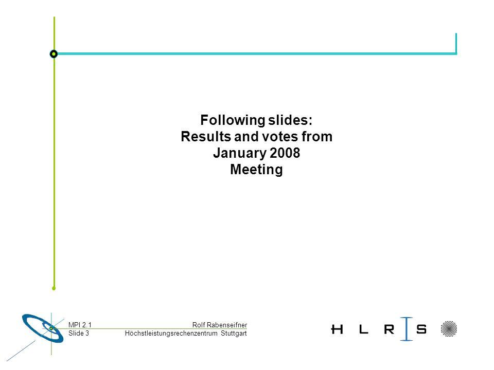 Höchstleistungsrechenzentrum Stuttgart Rolf RabenseifnerMPI 2.1 Slide 3 Following slides: Results and votes from January 2008 Meeting