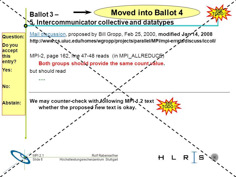 Höchstleistungsrechenzentrum Stuttgart Rolf RabenseifnerMPI 2.1 Slide 8 Ballot 3 – 5.