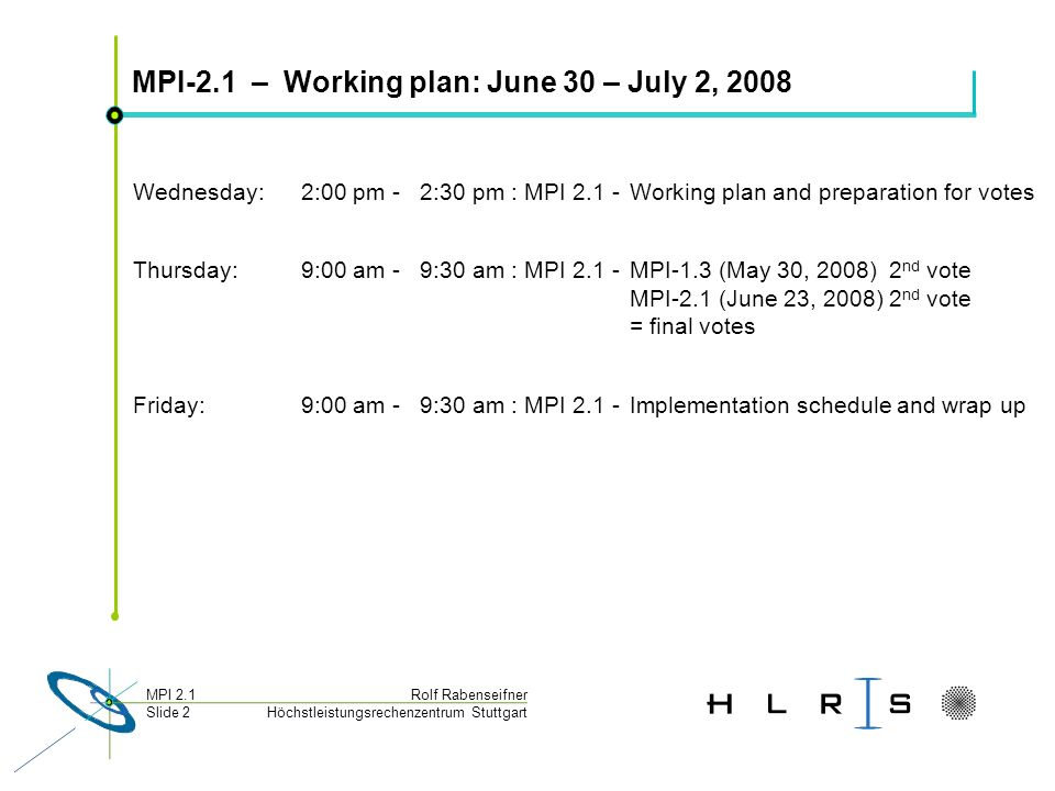 Höchstleistungsrechenzentrum Stuttgart Rolf RabenseifnerMPI 2.1 Slide 2 MPI-2.1 – Working plan: June 30 – July 2, 2008 Wednesday: 2:00 pm - 2:30 pm :