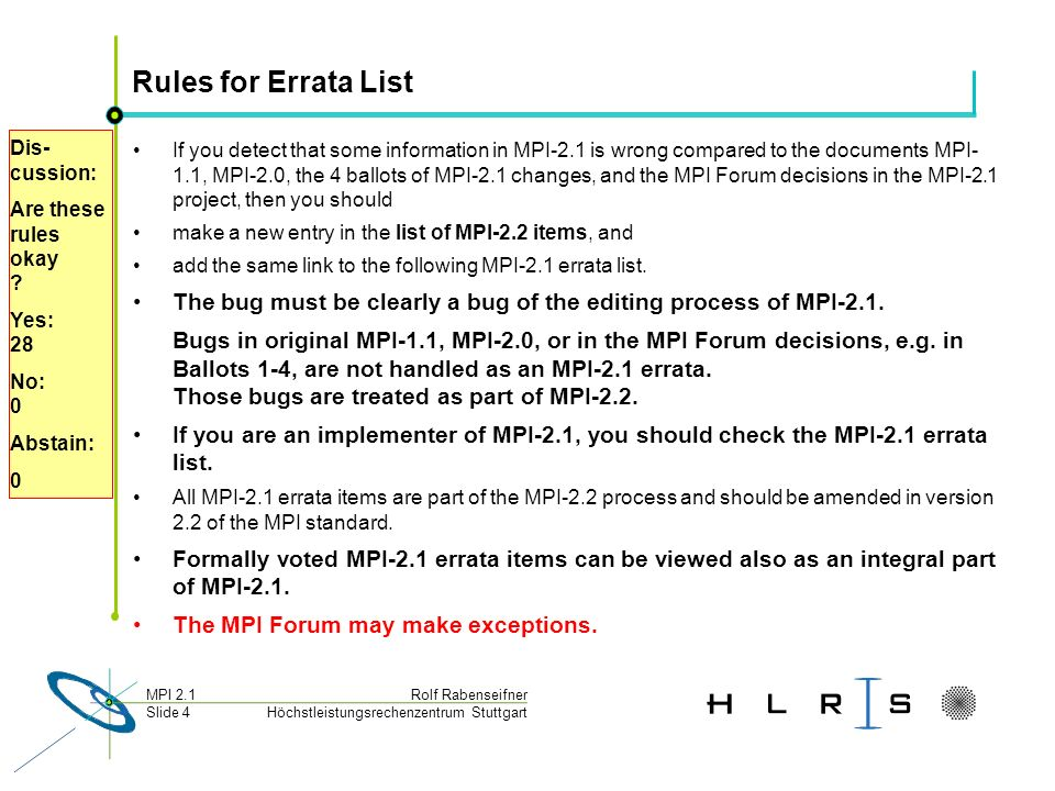 Höchstleistungsrechenzentrum Stuttgart Rolf RabenseifnerMPI 2.1 Slide 4 Rules for Errata List If you detect that some information in MPI-2.1 is wrong