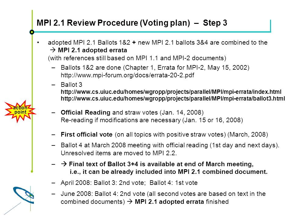 Höchstleistungsrechenzentrum Stuttgart Rolf RabenseifnerMPI 2.1 Slide 15 MPI 2.1 Review Procedure (Voting plan) – Step 3 adopted MPI 2.1 Ballots 1&2 + new MPI 2.1 ballots 3&4 are combined to the MPI 2.1 adopted errata (with references still based on MPI 1.1 and MPI-2 documents) –Ballots 1&2 are done (Chapter 1, Errata for MPI-2, May 15, 2002) http://www.mpi-forum.org/docs/errata-20-2.pdf –Ballot 3 http://www.cs.uiuc.edu/homes/wgropp/projects/parallel/MPI/mpi-errata/index.html http://www.cs.uiuc.edu/homes/wgropp/projects/parallel/MPI/mpi-errata/ballot3.html –Official Reading and straw votes (Jan.