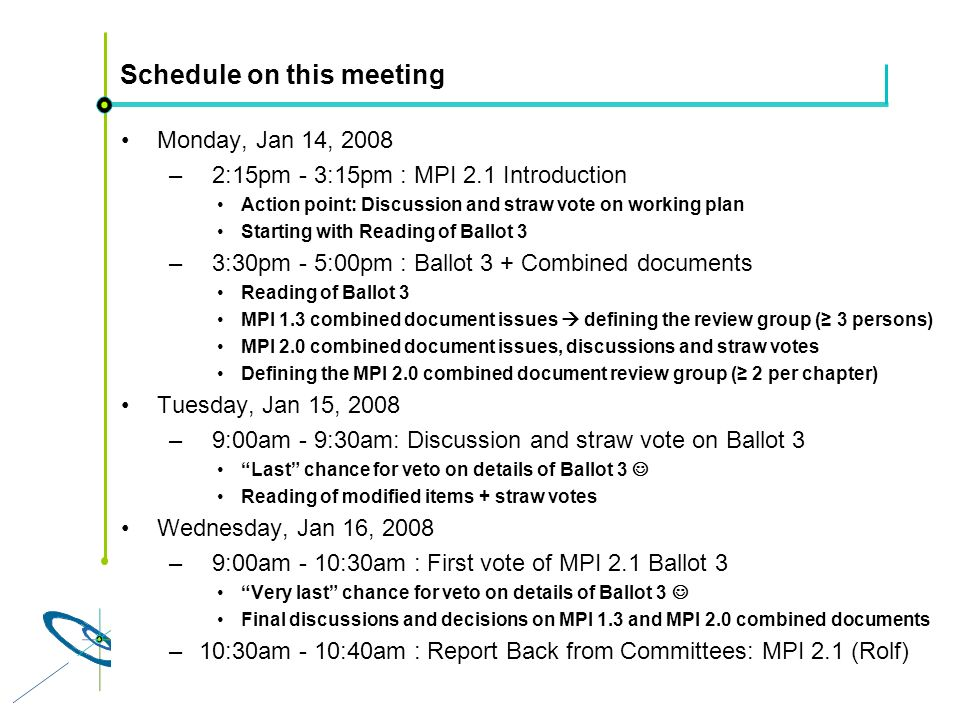 Höchstleistungsrechenzentrum Stuttgart Rolf RabenseifnerMPI 2.1 Slide 17 Schedule on this meeting Monday, Jan 14, 2008 – 2:15pm - 3:15pm : MPI 2.1 Int