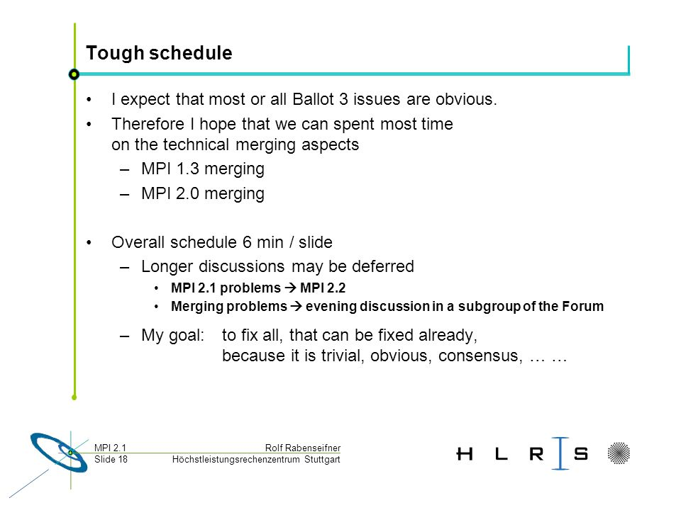 Höchstleistungsrechenzentrum Stuttgart Rolf RabenseifnerMPI 2.1 Slide 18 Tough schedule I expect that most or all Ballot 3 issues are obvious. Therefo