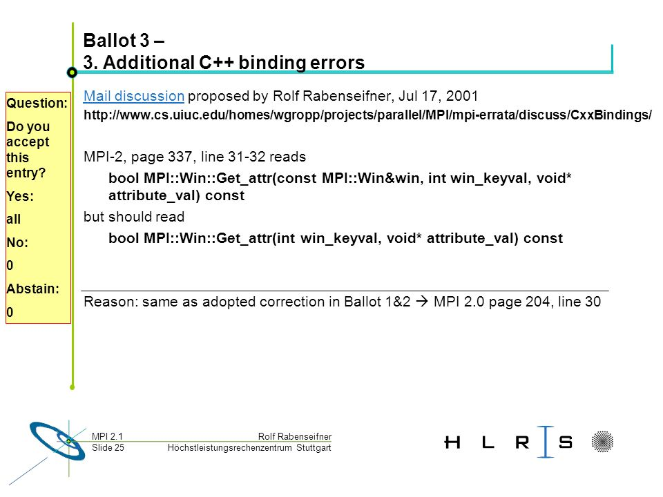 Höchstleistungsrechenzentrum Stuttgart Rolf RabenseifnerMPI 2.1 Slide 25 Ballot 3 – 3. Additional C++ binding errors Mail discussionMail discussion pr