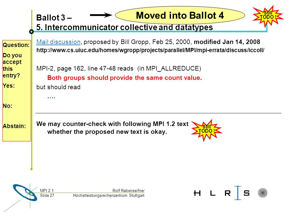 Höchstleistungsrechenzentrum Stuttgart Rolf RabenseifnerMPI 2.1 Slide 27 Ballot 3 – 5. Intercommunicator collective and datatypes Mail discussionMail