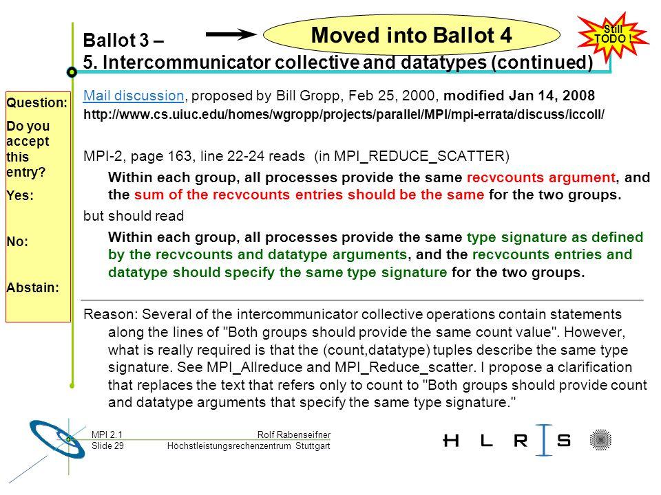 Höchstleistungsrechenzentrum Stuttgart Rolf RabenseifnerMPI 2.1 Slide 29 Ballot 3 – 5.