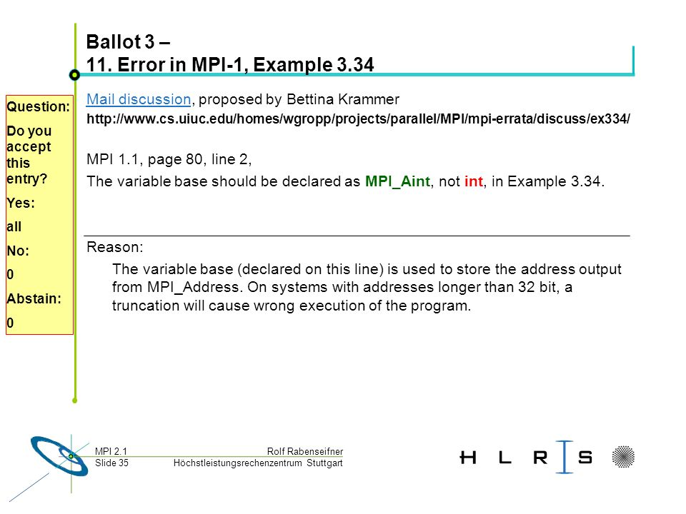Höchstleistungsrechenzentrum Stuttgart Rolf RabenseifnerMPI 2.1 Slide 35 Ballot 3 – 11. Error in MPI-1, Example 3.34 Mail discussionMail discussion, p