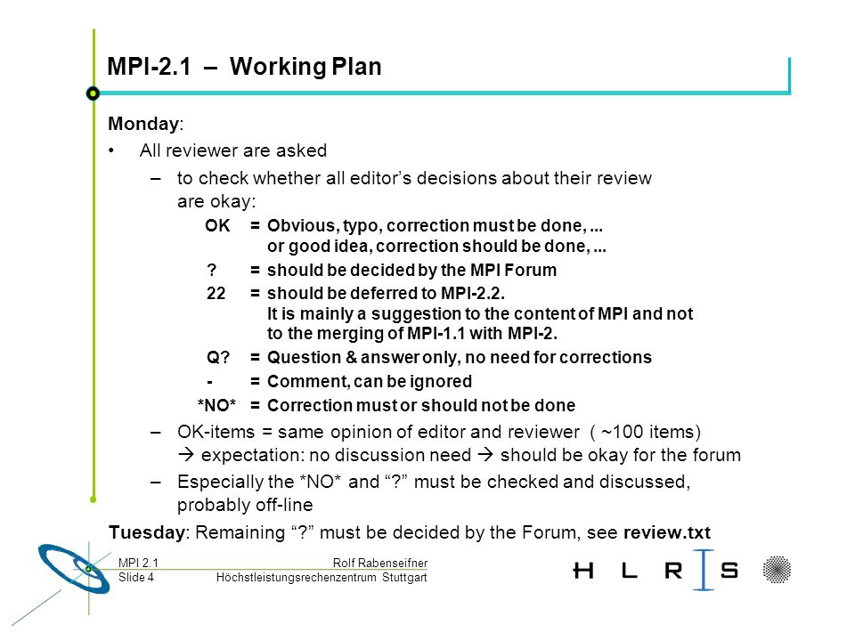 Höchstleistungsrechenzentrum Stuttgart Rolf RabenseifnerMPI 2.1 Slide 45 MPI 1.3 combined document Do we want to include the MPI 1.1 errata already into this MPI 1.3 document.