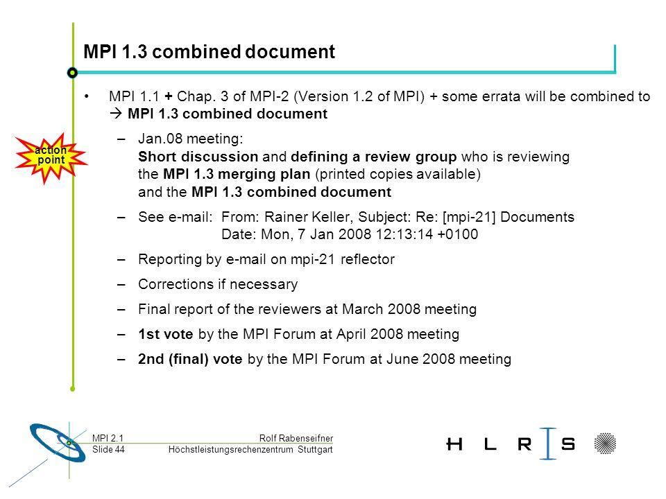 Höchstleistungsrechenzentrum Stuttgart Rolf RabenseifnerMPI 2.1 Slide 44 MPI 1.3 combined document MPI 1.1 + Chap.