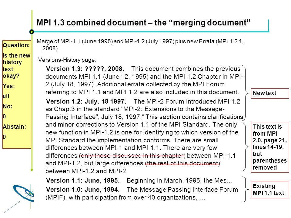 Höchstleistungsrechenzentrum Stuttgart Rolf RabenseifnerMPI 2.1 Slide 46 MPI 1.3 combined document – the merging document Merge of MPI-1.1 (June 1995)