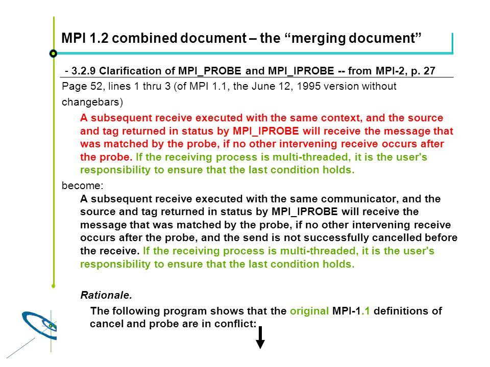 Höchstleistungsrechenzentrum Stuttgart Rolf RabenseifnerMPI 2.1 Slide 53 MPI 1.2 combined document – the merging document - 3.2.9 Clarification of MPI_PROBE and MPI_IPROBE -- from MPI-2, p.