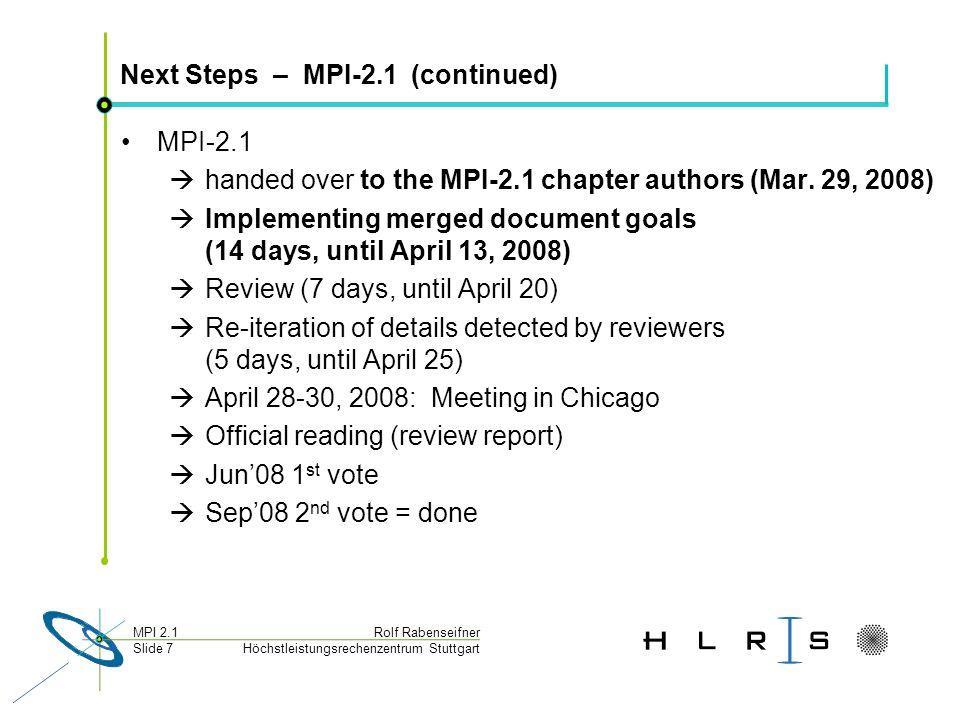 Höchstleistungsrechenzentrum Stuttgart Rolf RabenseifnerMPI 2.1 Slide 7 Next Steps – MPI-2.1 (continued) MPI-2.1 handed over to the MPI-2.1 chapter authors (Mar.