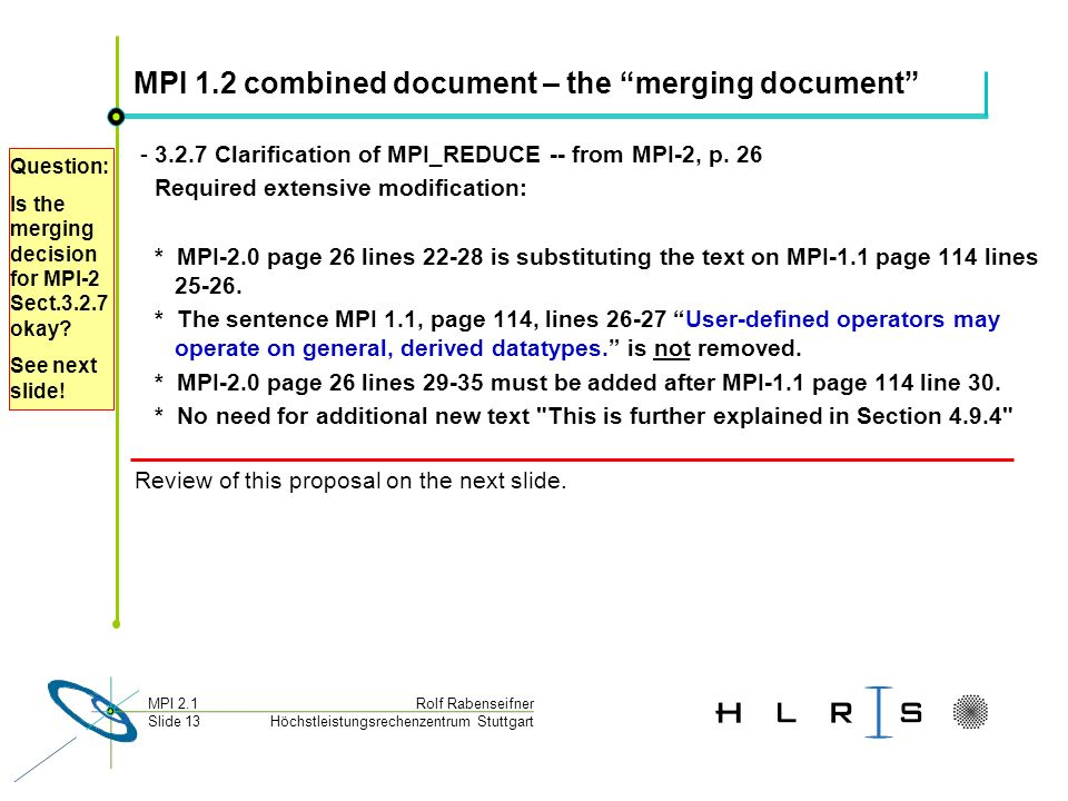Höchstleistungsrechenzentrum Stuttgart Rolf RabenseifnerMPI 2.1 Slide 13 MPI 1.2 combined document – the merging document - 3.2.7 Clarification of MPI