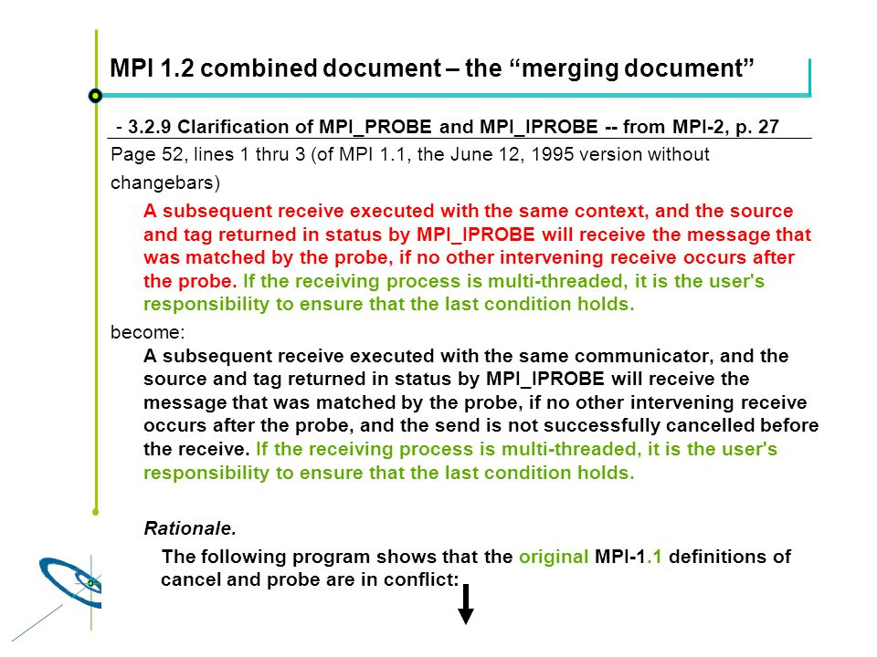 Höchstleistungsrechenzentrum Stuttgart Rolf RabenseifnerMPI 2.1 Slide 17 MPI 1.2 combined document – the merging document - 3.2.9 Clarification of MPI