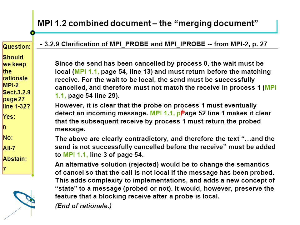 Höchstleistungsrechenzentrum Stuttgart Rolf RabenseifnerMPI 2.1 Slide 19 MPI 1.2 combined document – the merging document - 3.2.9 Clarification of MPI