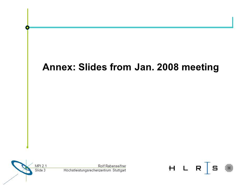 Höchstleistungsrechenzentrum Stuttgart Rolf RabenseifnerMPI 2.1 Slide 3 Annex: Slides from Jan.
