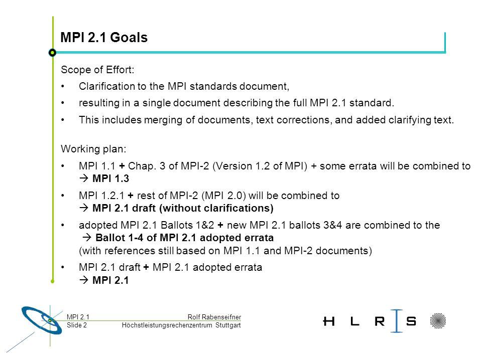 Höchstleistungsrechenzentrum Stuttgart Rolf RabenseifnerMPI 2.1 Slide 2 MPI 2.1 Goals Scope of Effort: Clarification to the MPI standards document, resulting in a single document describing the full MPI 2.1 standard.