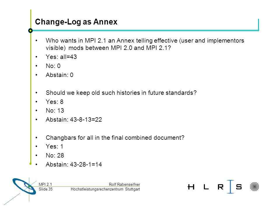 Höchstleistungsrechenzentrum Stuttgart Rolf RabenseifnerMPI 2.1 Slide 35 Change-Log as Annex Who wants in MPI 2.1 an Annex telling effective (user and implementors visible) mods between MPI 2.0 and MPI 2.1.
