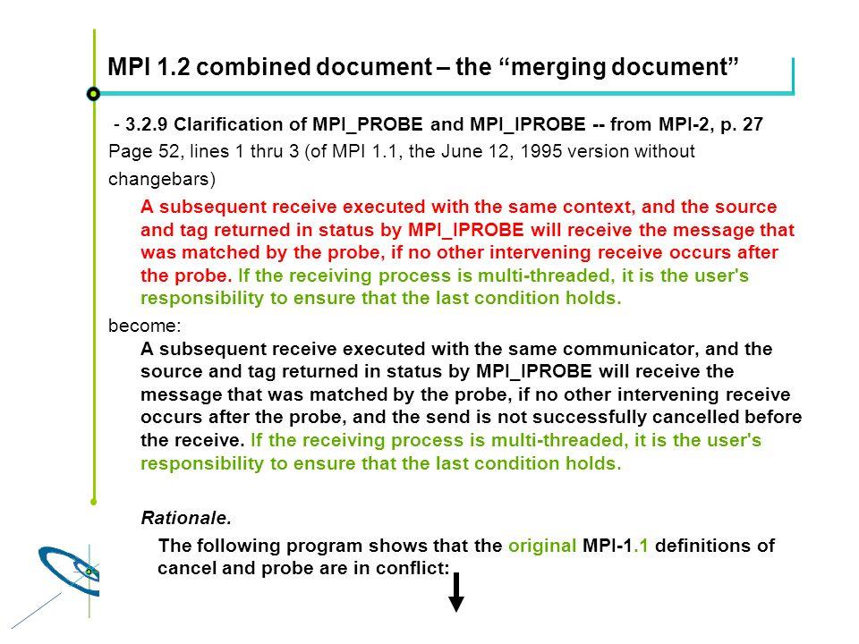 Höchstleistungsrechenzentrum Stuttgart Rolf RabenseifnerMPI 2.1 Slide 45 MPI 1.2 combined document – the merging document - 3.2.9 Clarification of MPI_PROBE and MPI_IPROBE -- from MPI-2, p.