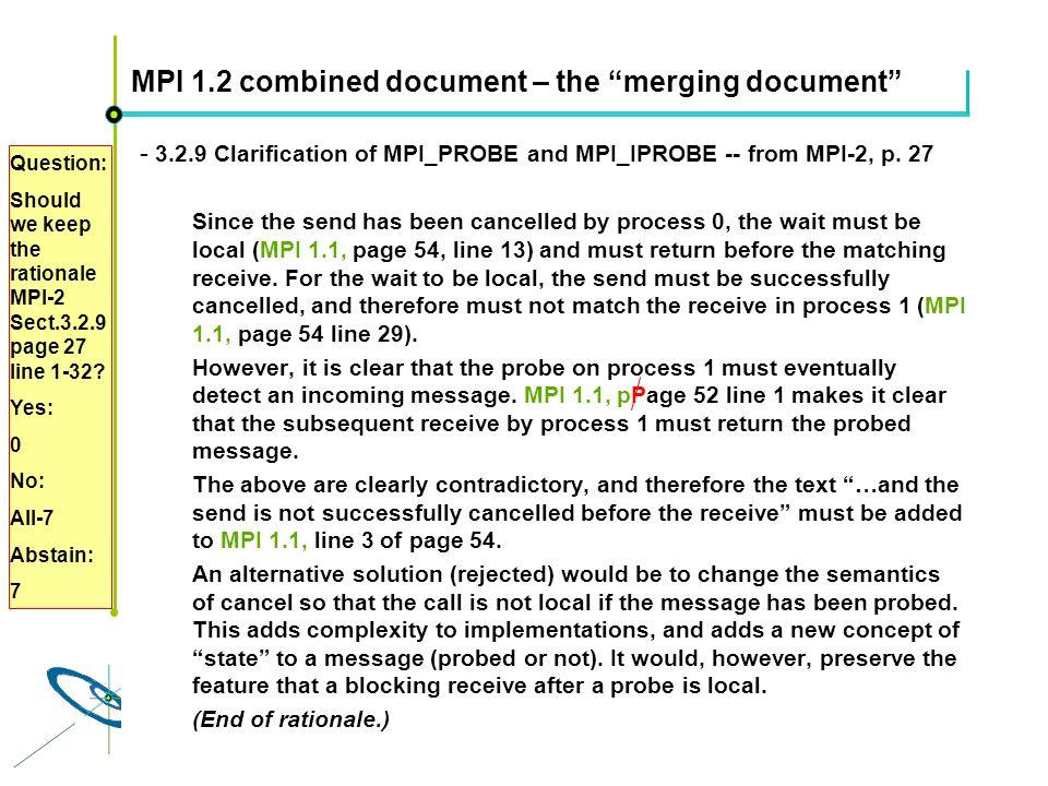Höchstleistungsrechenzentrum Stuttgart Rolf RabenseifnerMPI 2.1 Slide 47 MPI 1.2 combined document – the merging document - 3.2.9 Clarification of MPI_PROBE and MPI_IPROBE -- from MPI-2, p.