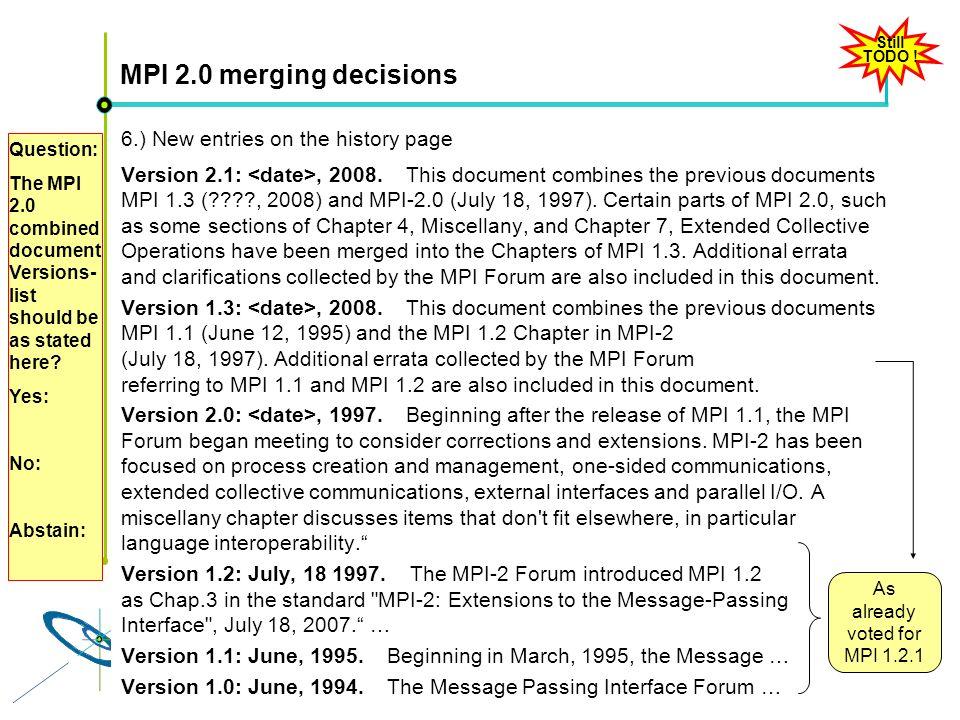 Höchstleistungsrechenzentrum Stuttgart Rolf RabenseifnerMPI 2.1 Slide 54 MPI 2.0 merging decisions 6.) New entries on the history page Version 2.1:, 2008.