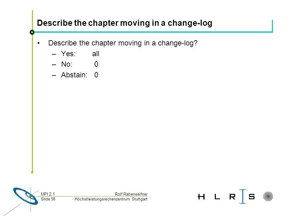Höchstleistungsrechenzentrum Stuttgart Rolf RabenseifnerMPI 2.1 Slide 58 Describe the chapter moving in a change-log Describe the chapter moving in a change-log.