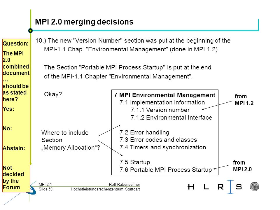 Höchstleistungsrechenzentrum Stuttgart Rolf RabenseifnerMPI 2.1 Slide 59 MPI 2.0 merging decisions 10.) The new Version Number section was put at the beginning of the MPI-1.1 Chap.