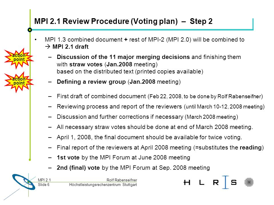 Höchstleistungsrechenzentrum Stuttgart Rolf RabenseifnerMPI 2.1 Slide 57 MPI 2.0 merging decisions 9.) Sequence of all chapters: - First all MPI-1, except Profiling - All MPI-2, except Extended Collective (it is fully merged into corresponding MPI-1.1 chapters) - Profiling Chapter - Only one merged Appendix The following MPI-2.0 sections are merged into the corresponding MPI-1.1 sections: - MPI-2.0 Chap.