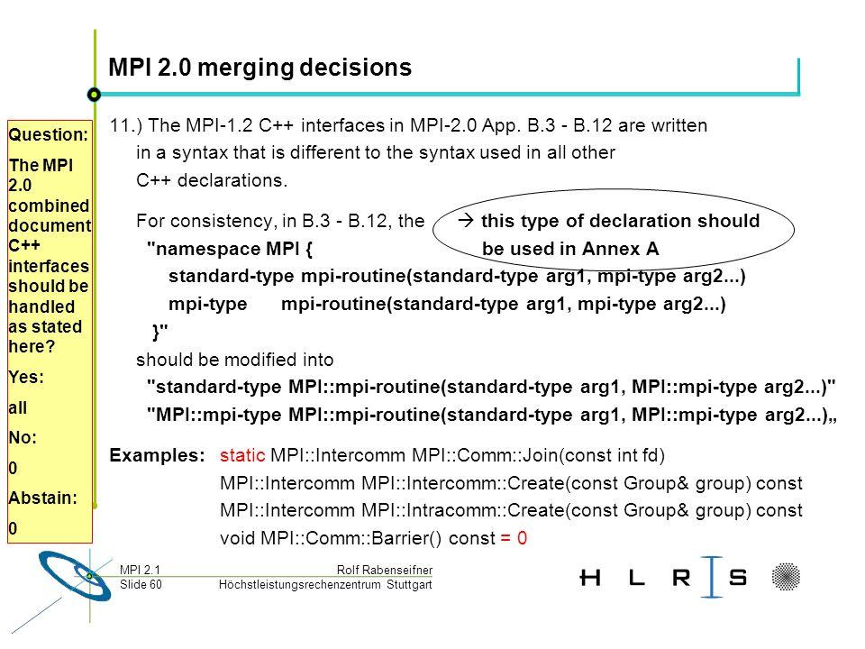 Höchstleistungsrechenzentrum Stuttgart Rolf RabenseifnerMPI 2.1 Slide 60 MPI 2.0 merging decisions 11.) The MPI-1.2 C++ interfaces in MPI-2.0 App.