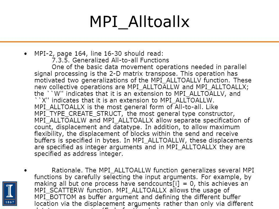 9 MPI_Alltoallx MPI-2, page 164, line 16-30 should read: 7.3.5. Generalized All-to-all Functions One of the basic data movement operations needed in p