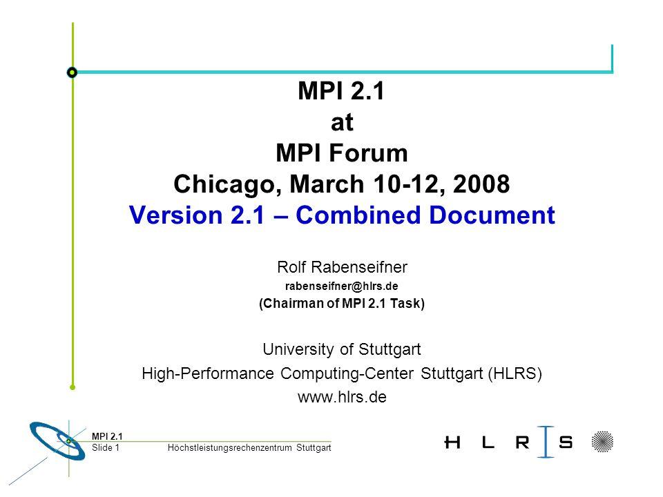 Höchstleistungsrechenzentrum Stuttgart MPI 2.1 Slide 1 MPI 2.1 at MPI Forum Chicago, March 10-12, 2008 Version 2.1 – Combined Document Rolf Rabenseifn