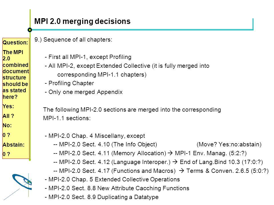 Höchstleistungsrechenzentrum Stuttgart Rolf RabenseifnerMPI 2.1 Slide 28 MPI 2.0 merging decisions 9.) Sequence of all chapters: - First all MPI-1, ex