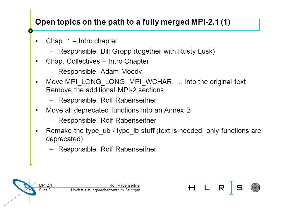 Höchstleistungsrechenzentrum Stuttgart Rolf RabenseifnerMPI 2.1 Slide 3 Open topics on the path to a fully merged MPI-2.1 (1) Chap. 1 – Intro chapter