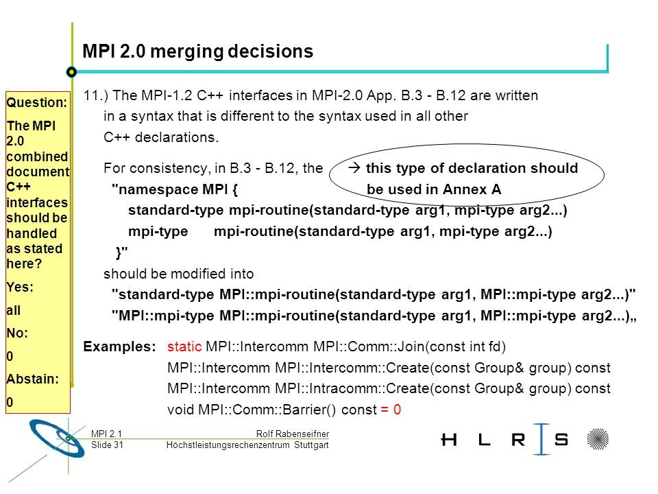 Höchstleistungsrechenzentrum Stuttgart Rolf RabenseifnerMPI 2.1 Slide 31 MPI 2.0 merging decisions 11.) The MPI-1.2 C++ interfaces in MPI-2.0 App.