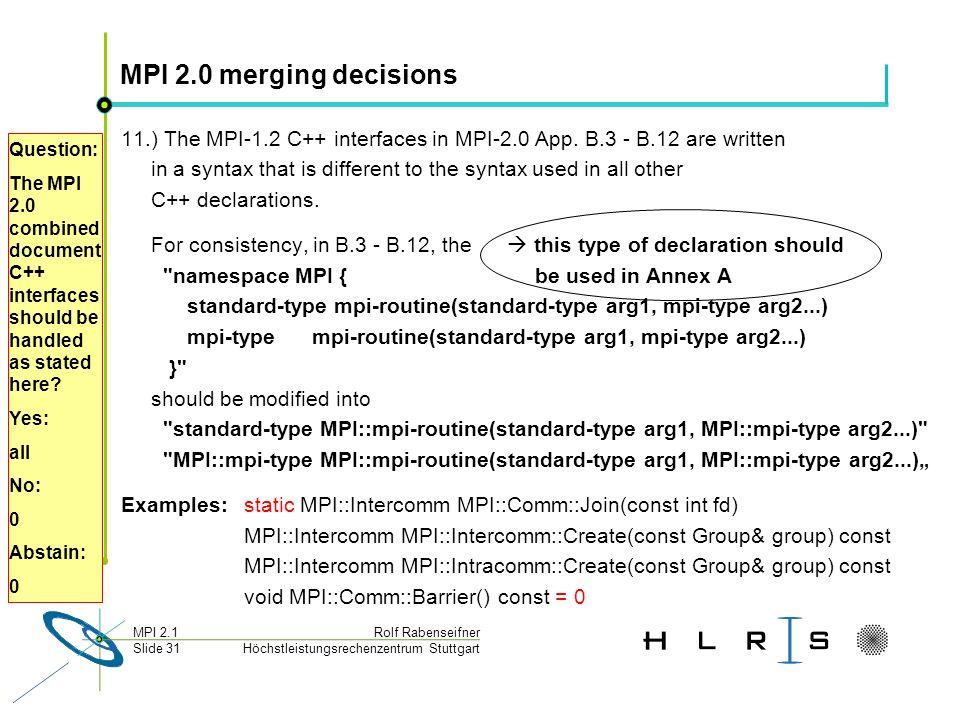 Höchstleistungsrechenzentrum Stuttgart Rolf RabenseifnerMPI 2.1 Slide 31 MPI 2.0 merging decisions 11.) The MPI-1.2 C++ interfaces in MPI-2.0 App. B.3