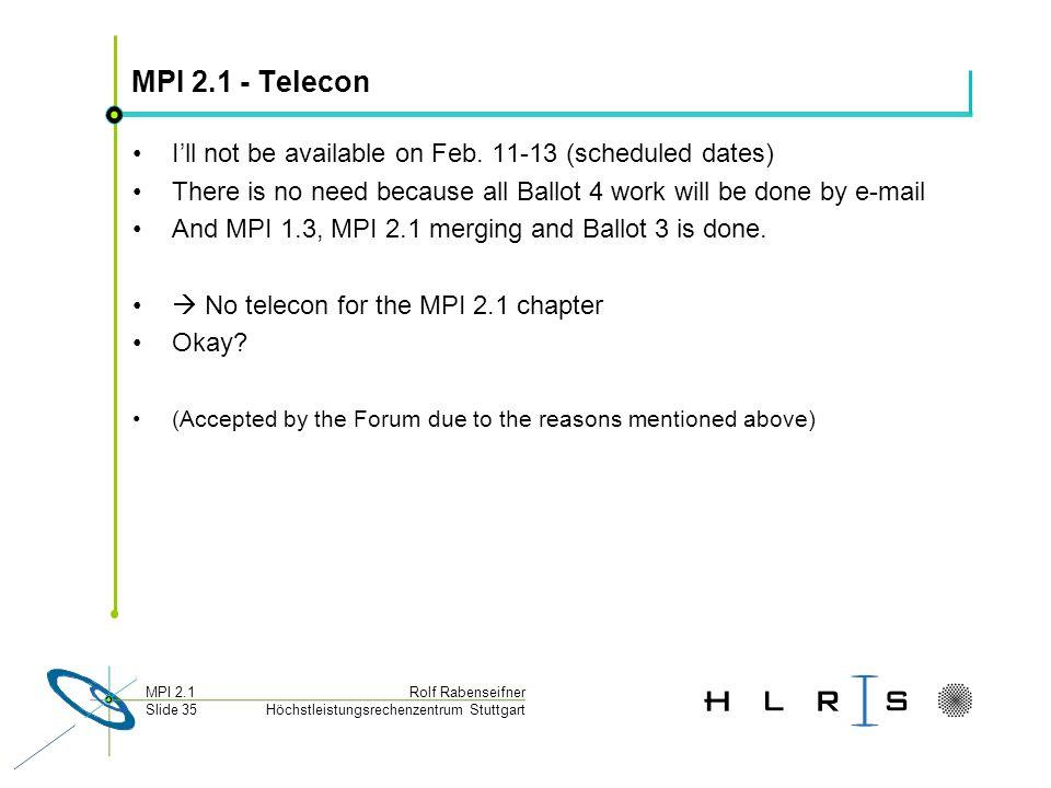 Höchstleistungsrechenzentrum Stuttgart Rolf RabenseifnerMPI 2.1 Slide 35 MPI 2.1 - Telecon Ill not be available on Feb. 11-13 (scheduled dates) There
